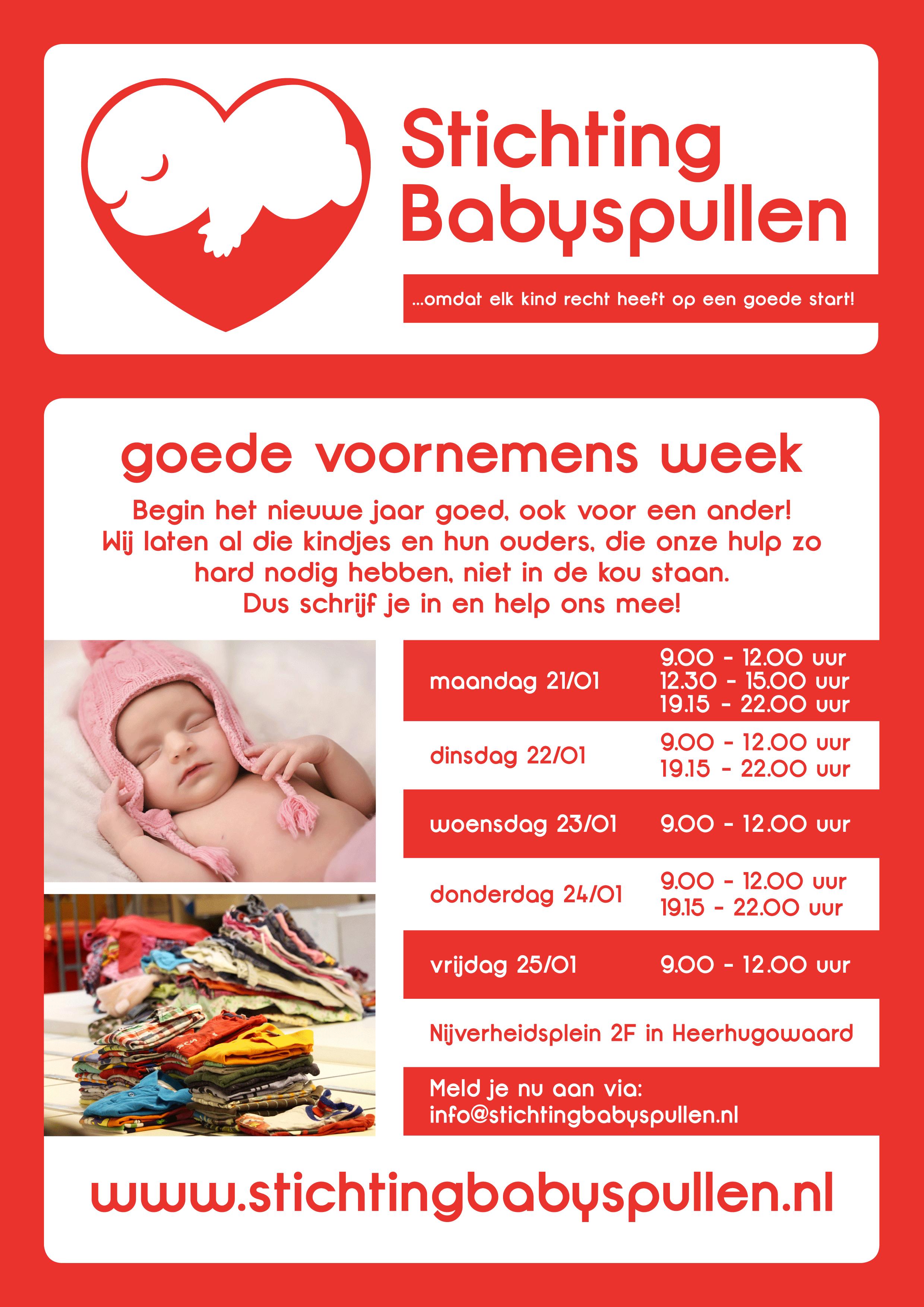 """""""Goede Voornemens Week"""" Bij Stichting Babyspullen"""
